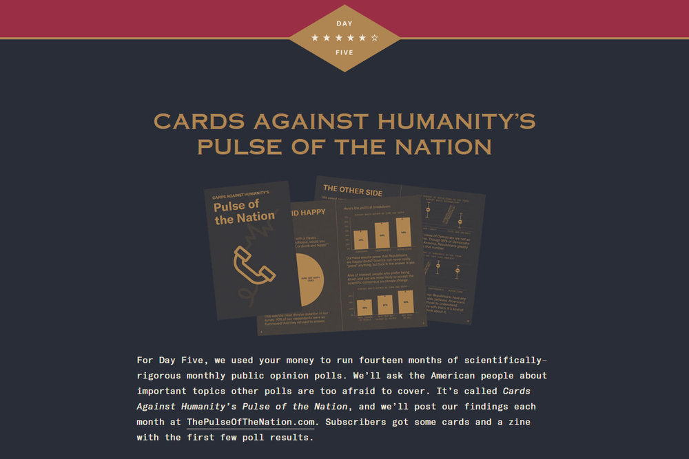 The day 5 banner at cardsagainsthumanitysavesamerica.com.