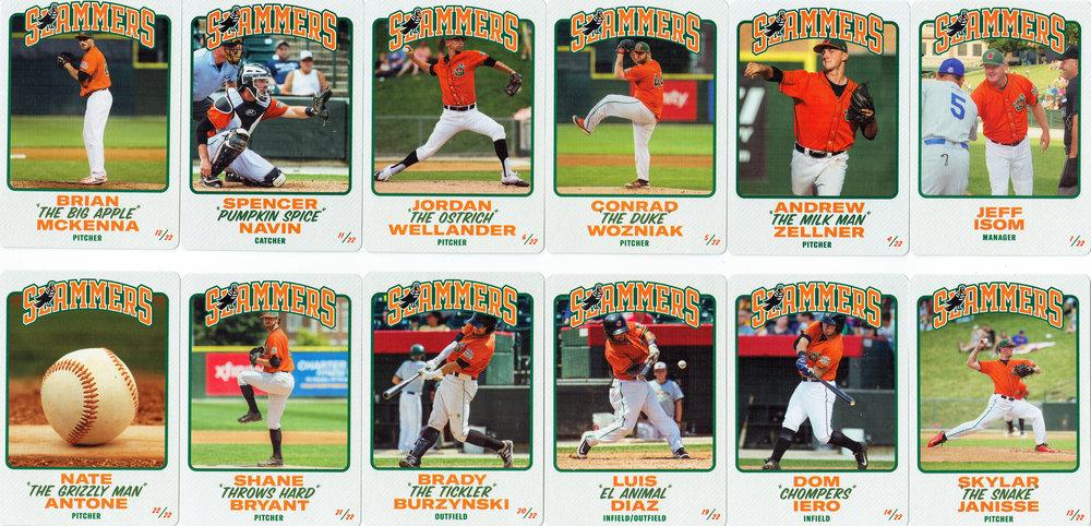 Joliet Slammers Baseball cards (fronts)