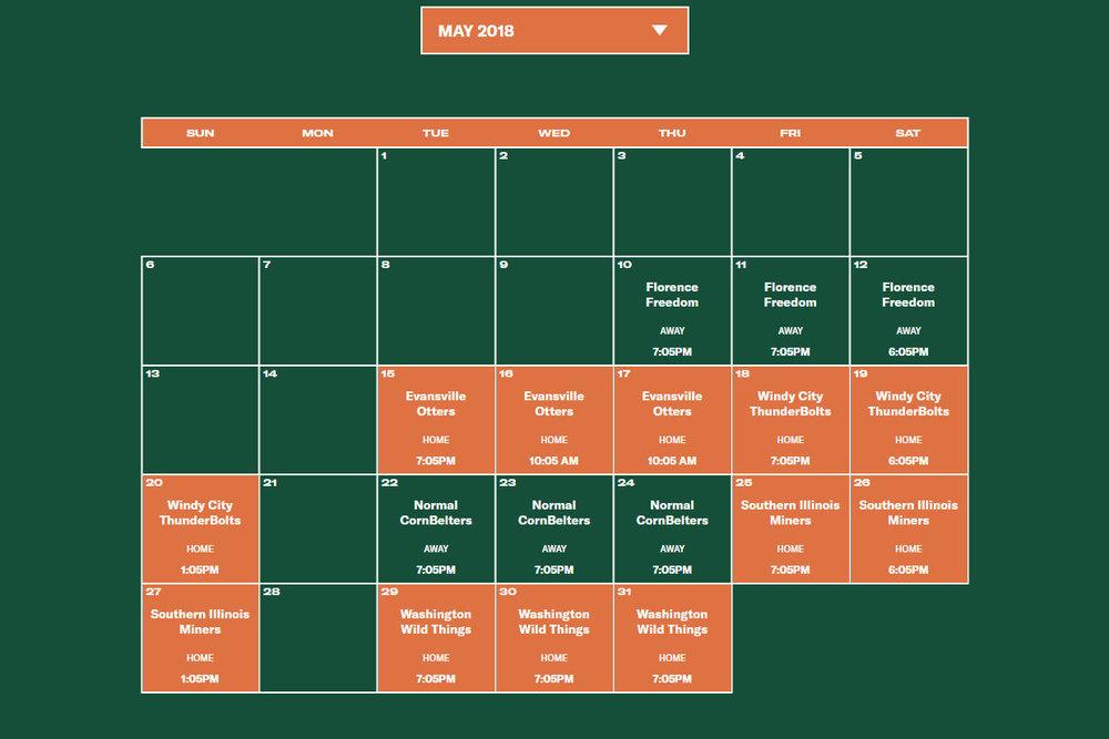 Joliet Slammers May 2018 Schedule