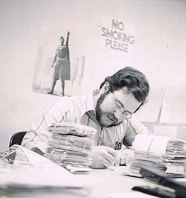 Bob Rozakis at his desk.