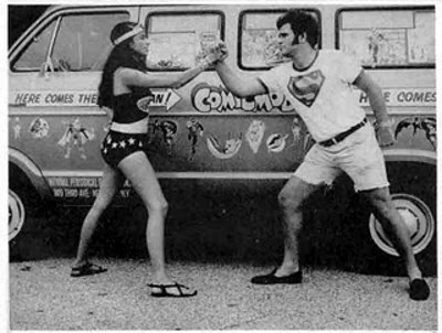 Bob Rozakis with his future wife Laurie in front of the DC Comicmobile.