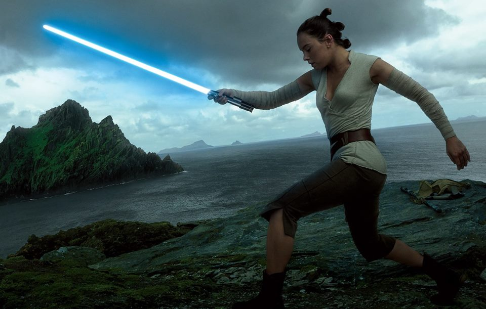 Rey trains to be a Jedi.