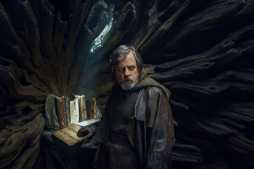 """Page turners, they were not"" Luke Skywalker with the sacred Jedi texts."