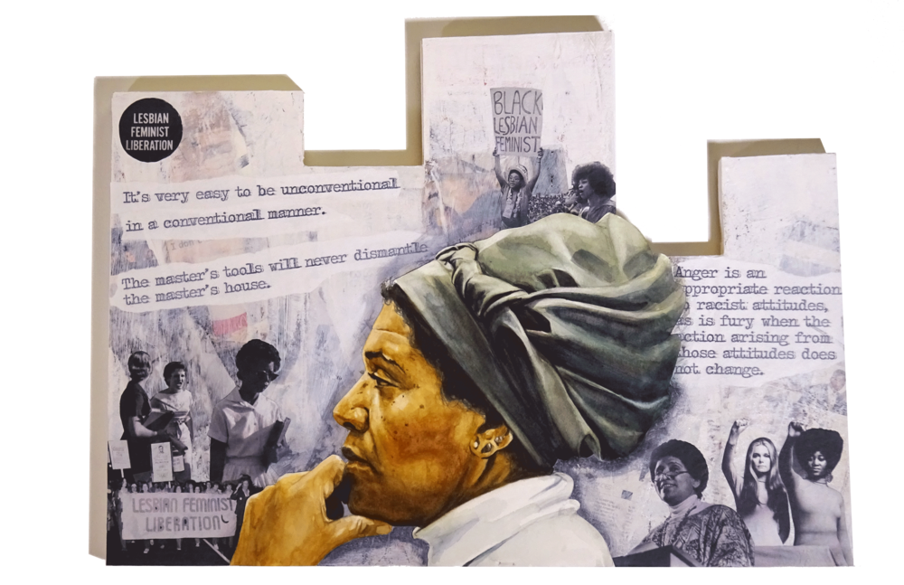 Audre Lorde - mixed media piece by Adrienne Norris.