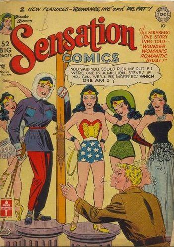 Sensation Comics (1942) #96, cover by Irwin Hasen.