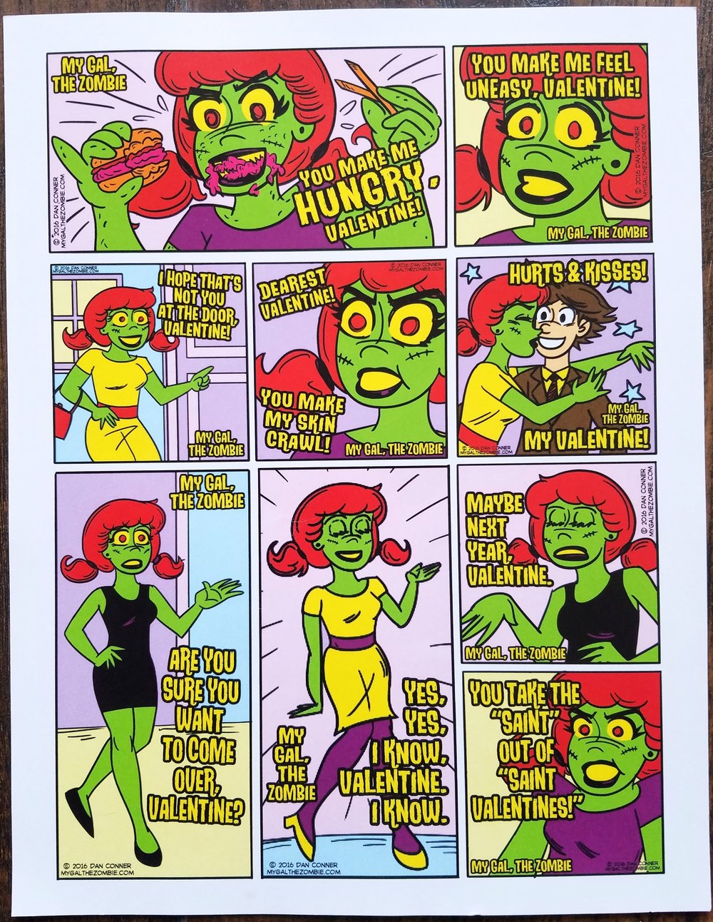 A page of  My Gal the Zombie  cards for Valentine's Day.