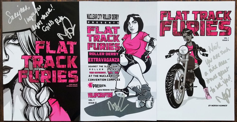 Flat Track Furies  issues #1, #2, & #3 - from  Moriah Hummer .