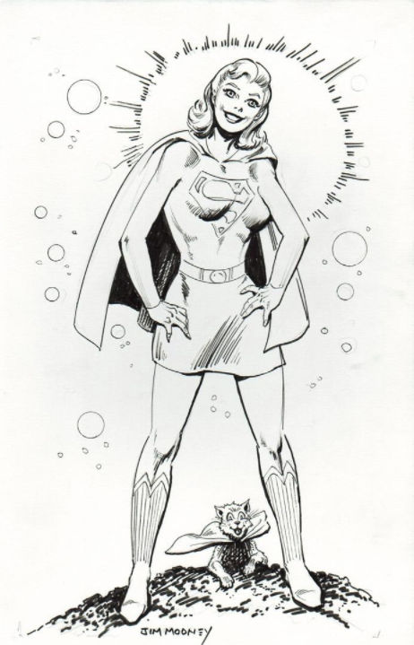 Supergirl with Streaky the Cat drawn by Jim Mooney.