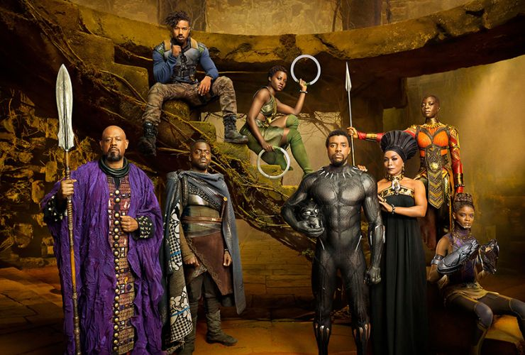 The cast of Black Panther (2018).