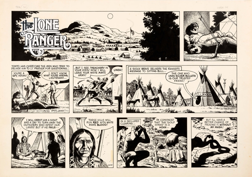 A  Lone Ranger  Sunday strip, drawn by Russ Heath.
