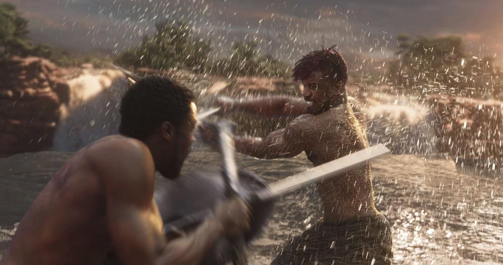 T'Challa battles Erik Killmonger.