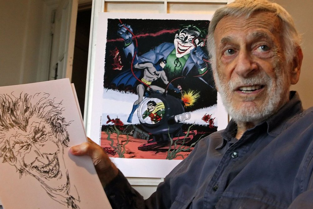 Jerry Robinson with a Joker sketch in 2010.