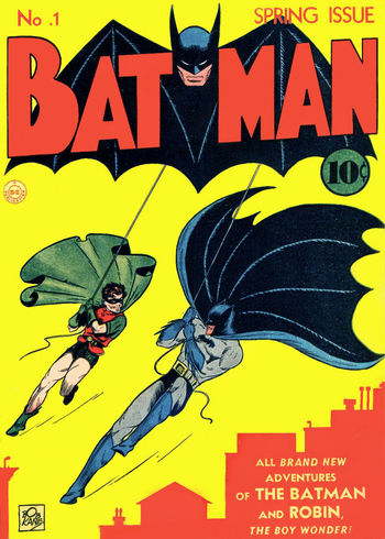 Batman (1940) #1, Cover penciled by Bob Kane & inked by Jerry Robinson.