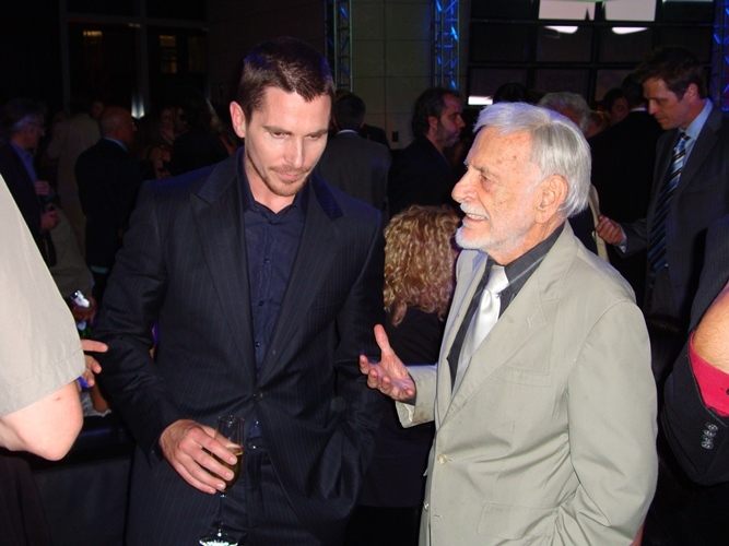 Jerry Robinson talks with Christian Bale.