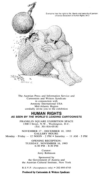 A poster for the Human Rights exhibition curated by Jerry Robinson.
