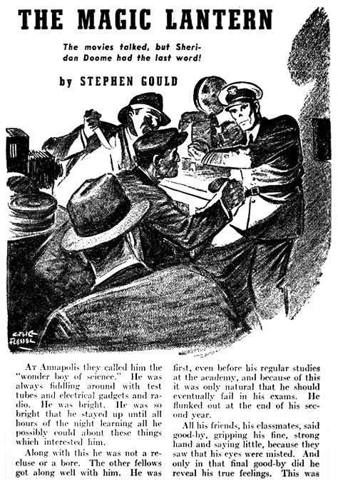 The pulps: an illustration from the  July 1940  issue of  The Shadow . Art by Creig Flessel.