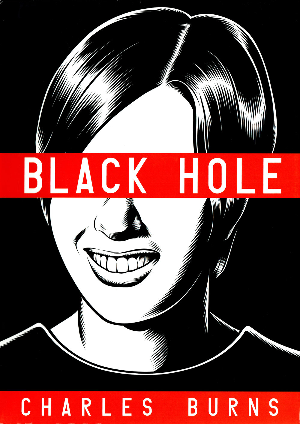 Cover of the hardcover collection of   Black Hole  , by  Charles Burns .
