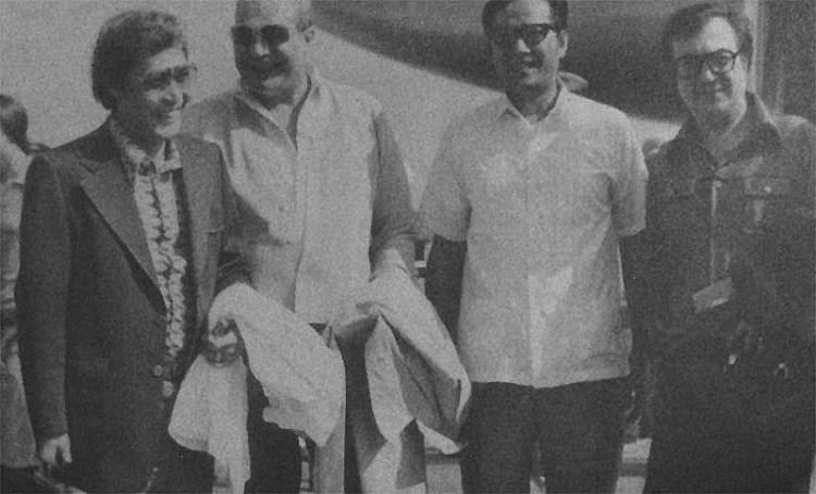 Tony DeZuniga, Carmine Infantino, Nestor Redondo and Joe Orlando on a 1971 trip to the Philippines.