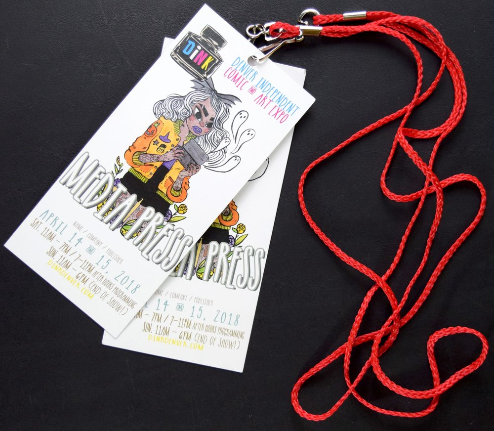 DINK 2018 media badges with art from Heather Mahler.