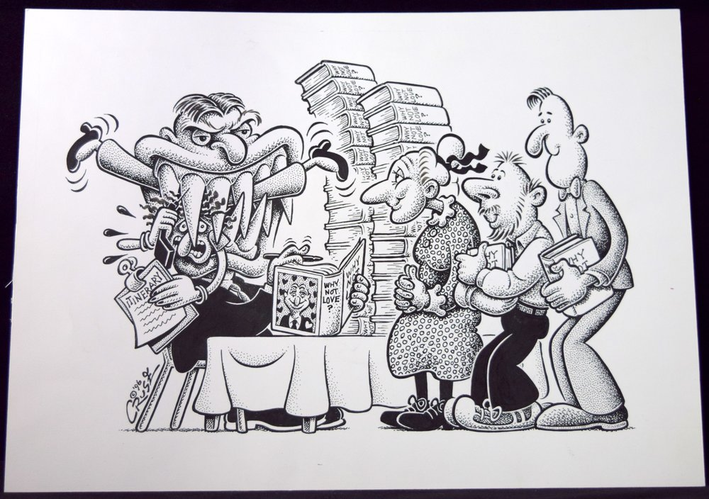 """Bad Temper on the Book Tour"", original art from Howard Cruse."