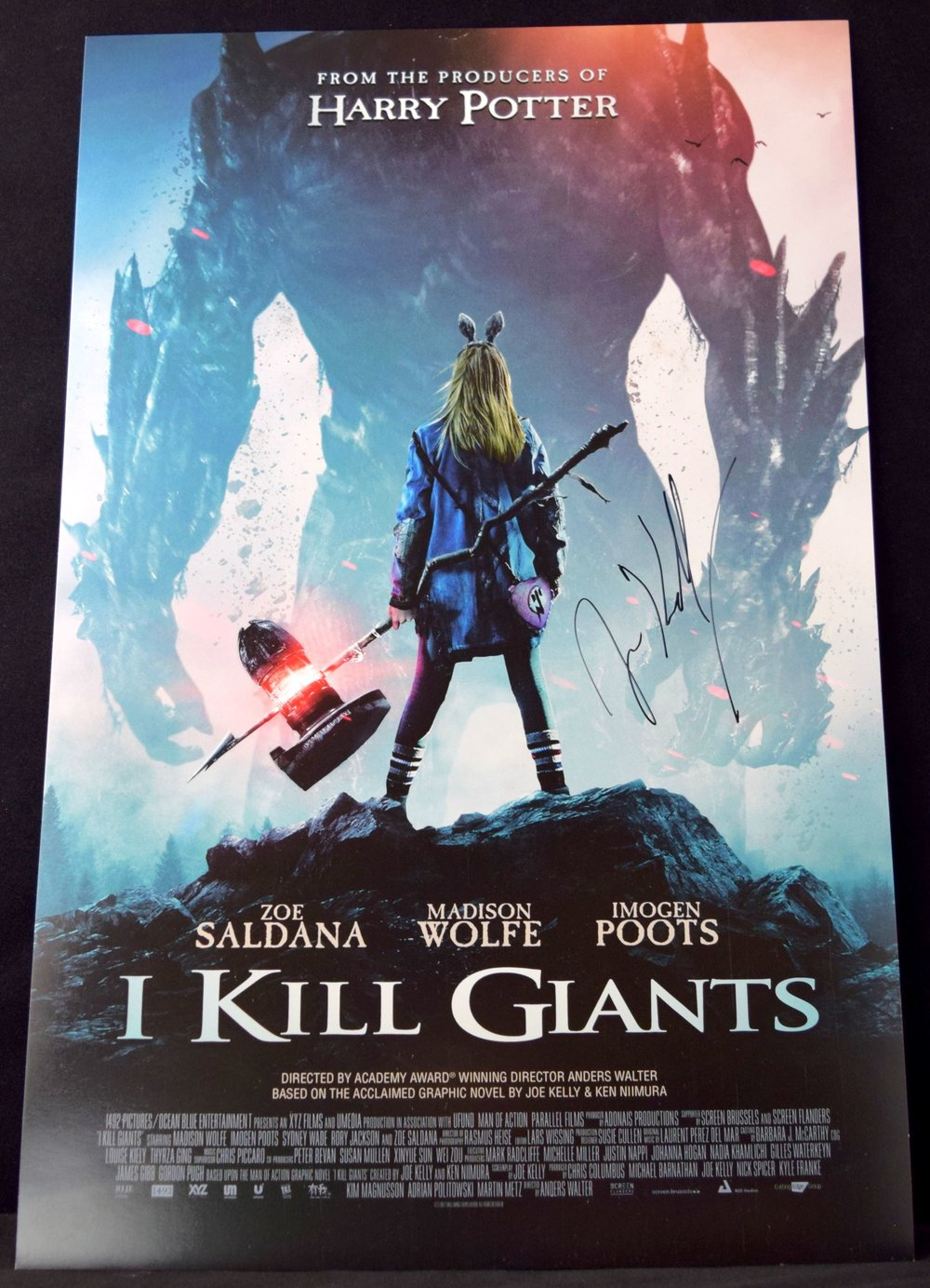 An   I Kill Giants   movie poster, signed by  Joe Kelly .