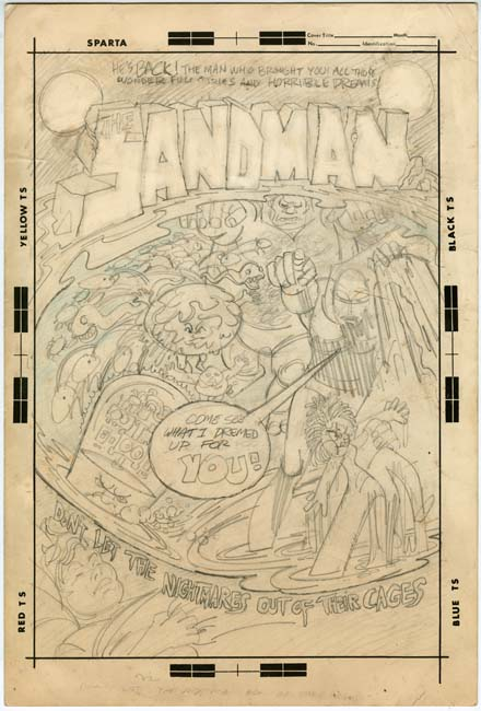 Sandman (1971) #1 cover proposal by Jerry Grandenetti.