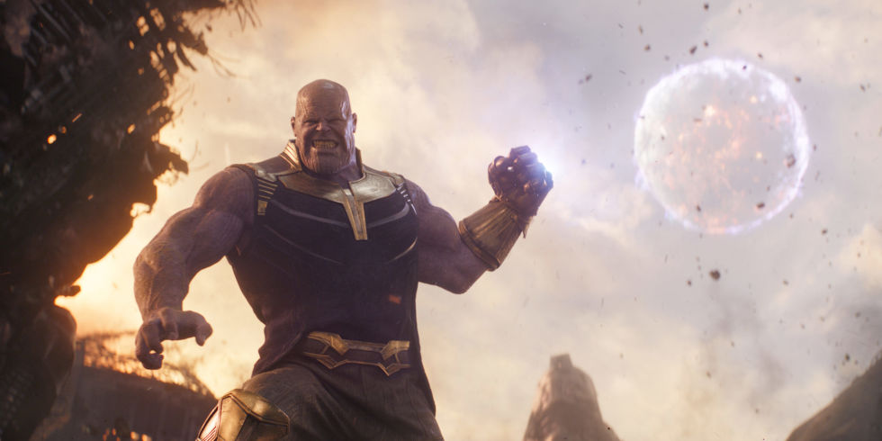 Thanos  wields the  Infinity Gauntlet .