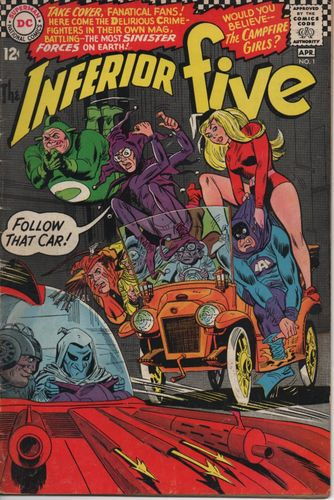 Inferior Five (1967) #1, cover penciled by Mike Sekowsky & inked by Mike Esposito.