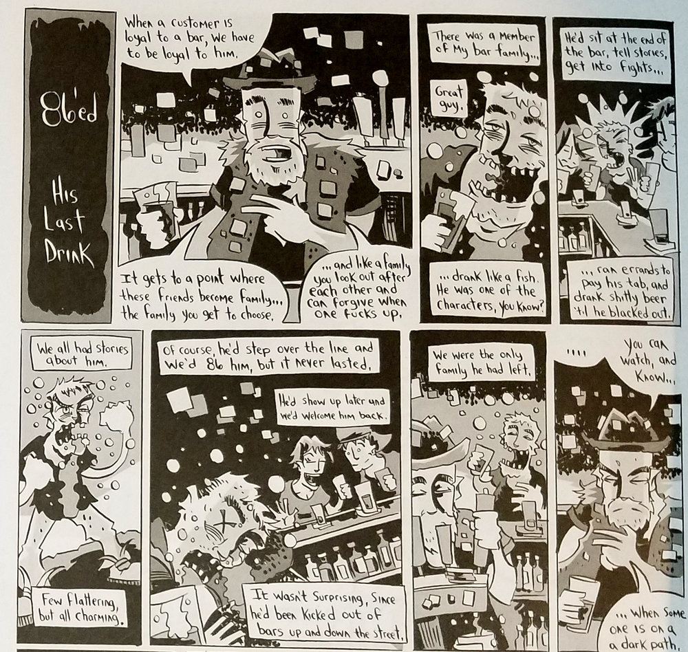 A few panels from  86'ed: His Last Drink , drawn by Karl Christian Krumpholz.
