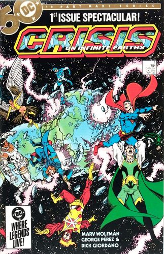Crisis on Infinite Earths (1985) #1, written by Marv Wolfman & Robert Greenberger.