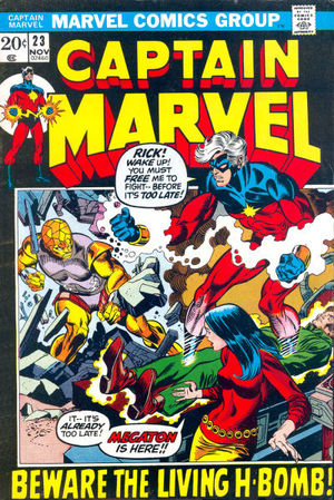 Captain Marvel (1968) #23, written by Marv Wolfman.