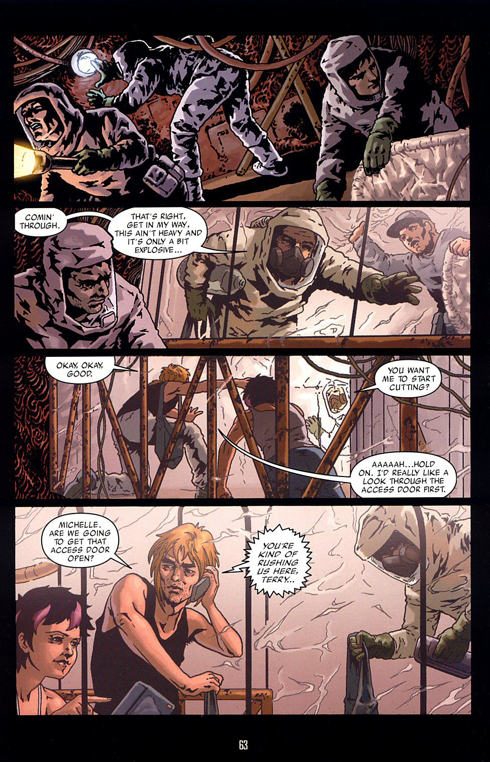 Orbiter (2003) TPB pg.67, lettered by Clem Robins.