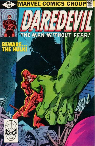 Daredevil (1964) #163, cover penciled by Frank Miller and inked by Joe Rubinstein.