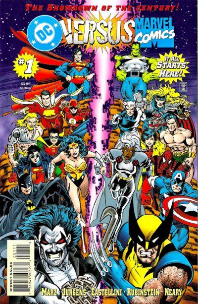 DC Versus Marvel (1997) #1, cover penciled by Dan Jurgens and inked by Joe Rubinstein.