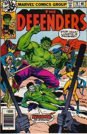 Defenders (1972) #70, cover penciled by Herb Trimpe and inked by Joe Rubinstein.
