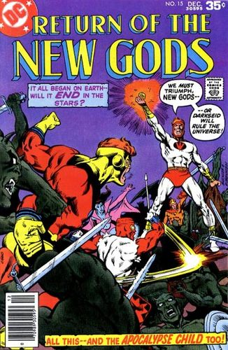 New Gods (1971) #15, cover penciled by Rich Buckler and inked by Joe Rubinstein.