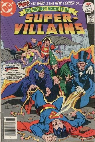 Secret Society of Super-Villains (1976) #7, cover penciled by Rich Buckler and inked by Joe Rubinstein.