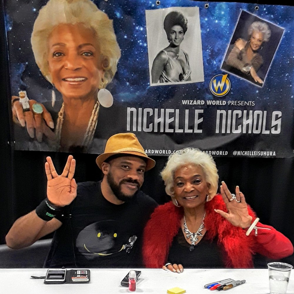 R. Alan Brooks  with  Nichelle Nichols  at Wizard World Des Moines 2018.