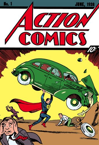 Action Comics (1938) #1, cover by Joe Shuster and Jack Adler.