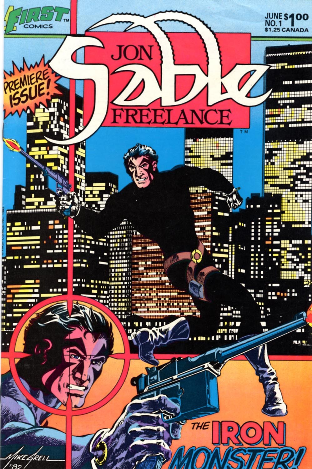 Jon Sable_ Freelance (1983) #1, cover by Mike Grell.