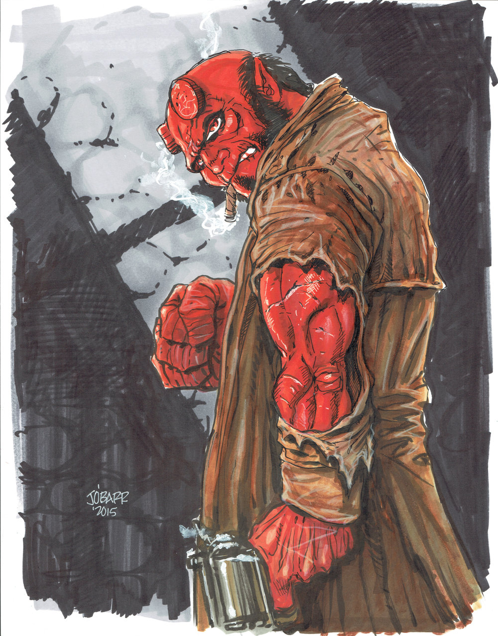 Hellboy  commission done in 2015 by  James O'Barr .
