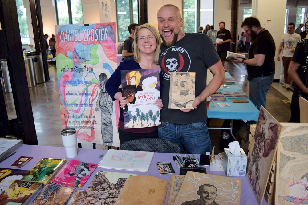 Elisa Sargent  &  Daniel Crosier  at  Denver Zine Fest 2018 .