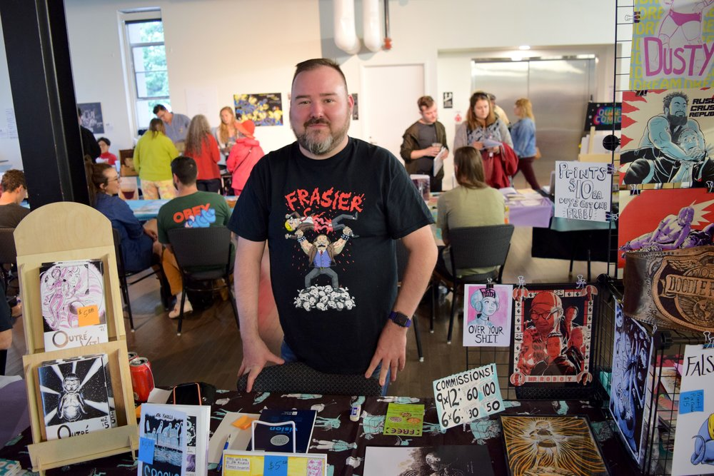 Doodle Fight champion  Zak Kinsella  at  Denver Zine Fest 2018 .
