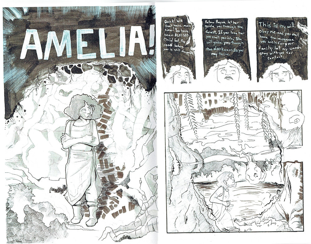 An interior page from Amelia #1 (color edition) by Thea J. Hunt.