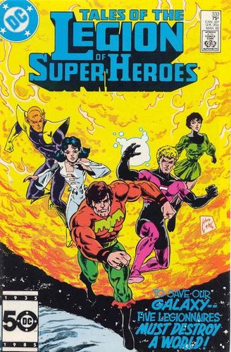 Legion of Super-Heroes (1980) #333, cover drawn by Steve Lightle and colored by Anthony Tollin.