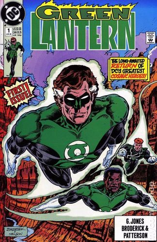 Green Lantern (1990) #1, cover drawn by Pat Broderick & Mark Nelson and colored by Anthony Tollin.