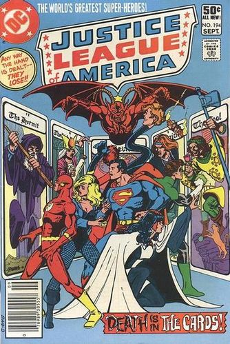 Justice League of America (1960) #194, cover drawn by George Perez and colored by Anthony Tollin.