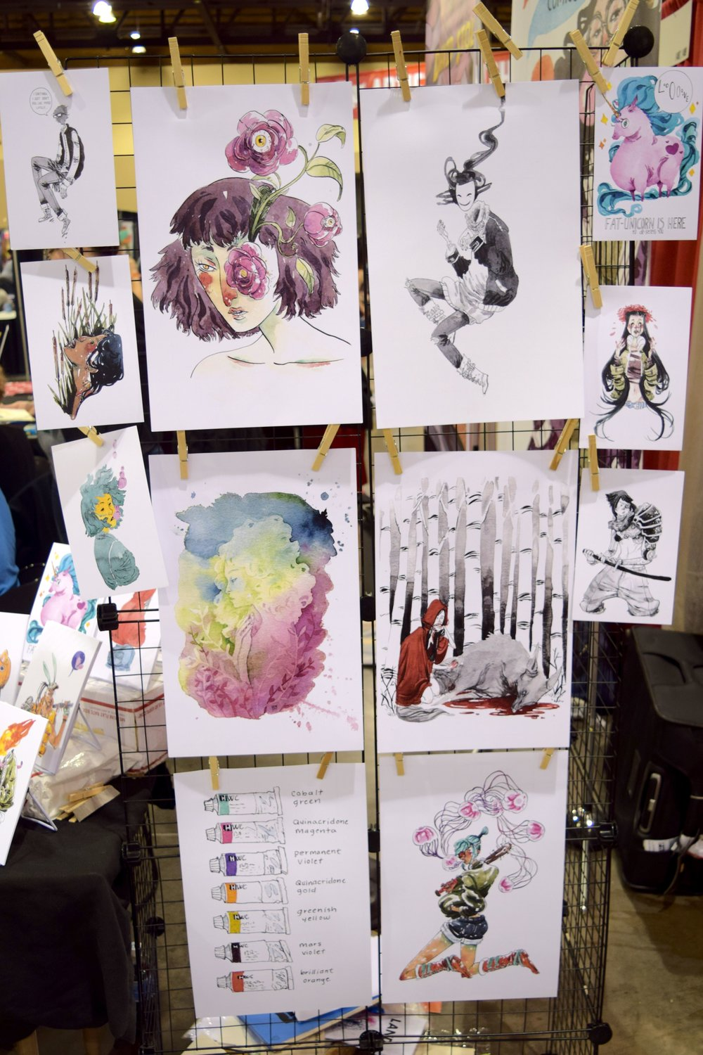 Some of the art available from Morgan Beem at Phoenix Comic Fest 2018.
