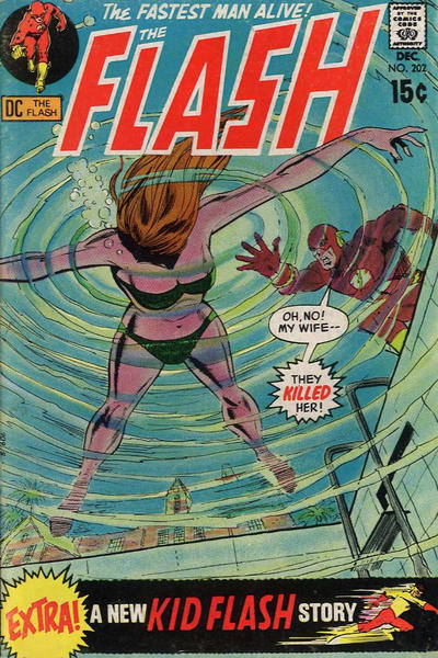 The Flash (1959) #202, featuring a Kid Flash back-up story written by Steve Skeates.