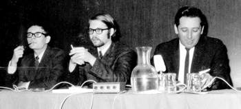 Denny O'Neil, Steve Skeates, & Dick Giordano at a convention in the '60s.